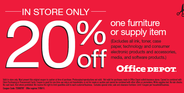 20 off one furniture or supply item coupon at office depot manufacturer coupons - Office depot discount code ...