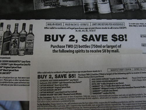 Manufacturer Coupons Mail >> 8 Mail In Rebate For Buying 2 Smirnoff Jose Cuervo And Other