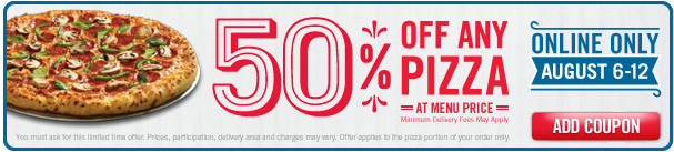 dominos pizza coupon 2012