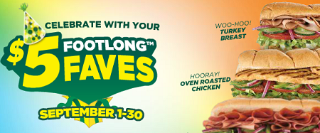 subway 5 dollar footlongs september
