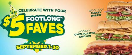 subway 5 dollar footlongs september