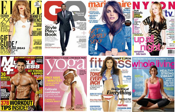 fashion and fitness magazines