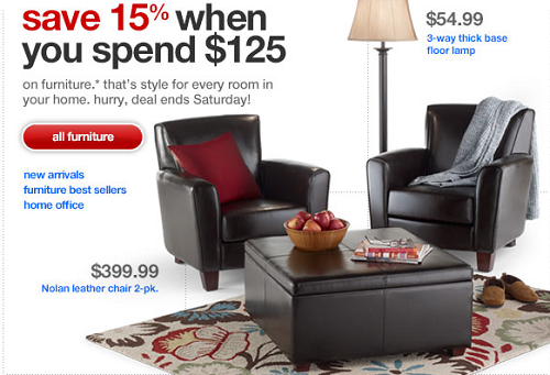 Target Furniture Sale Save 15 On 125 Orders Manufacturer Coupons