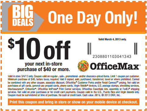 office max in store coupon