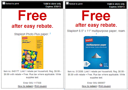 staples free after rebate paper