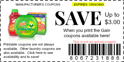 free gain coupons printable