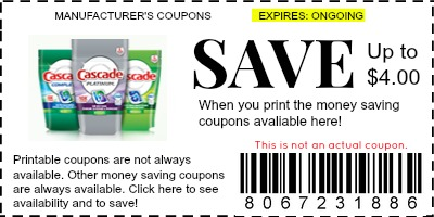 image about Cascade Coupons Printable named Cascade Coupon codes - Brand name Coupon codes