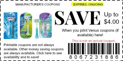 photograph regarding Printable Razor Coupons named Venus Razor Discount coupons - Brand name Discount codes