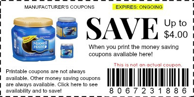image regarding Printable Coffee Coupons named Maxwell Property Espresso Discount codes - Brand Discount codes