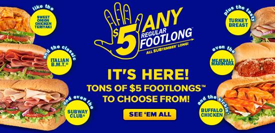$5 Footlong September 2013